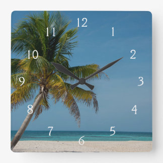 Palm tree and white sand beach  2 square wall clock