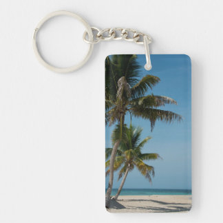 Palm tree and white sand beach Double-Sided rectangular acrylic key ring