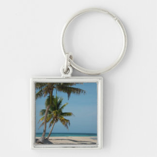 Palm tree and white sand beach Silver-Colored square key ring