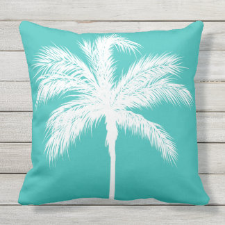 Palm Tree Aqua Throw Pillow