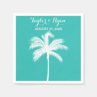 Palm Tree Aqua Wedding Paper Napkins
