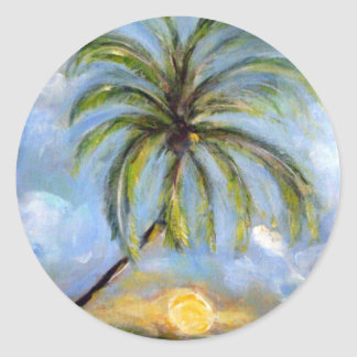 Palm Tree Artwork Classic Round Sticker
