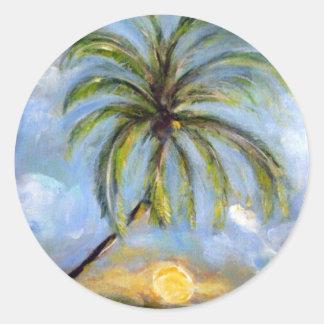 Palm Tree Artwork Round Sticker