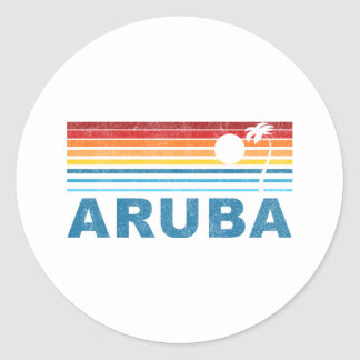 Palm Tree Aruba Classic Round Sticker
