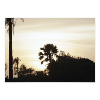 Palm tree at sunset 13 cm x 18 cm invitation card
