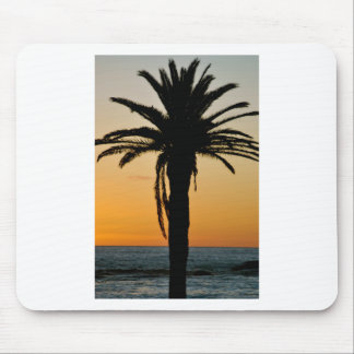 Palm tree at sunset mouse pad