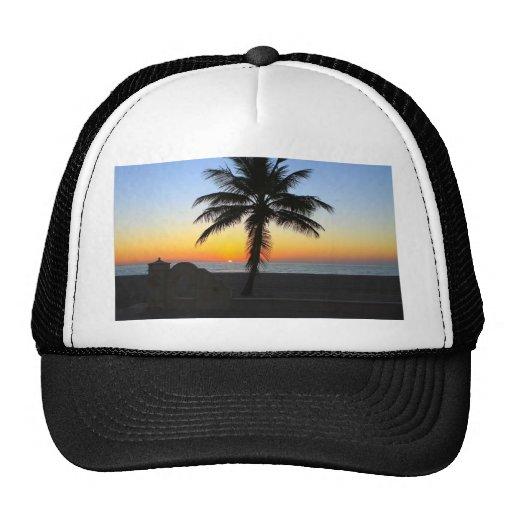 Palm Tree at Sunset on Beach Trucker Hats
