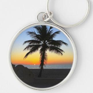 Palm Tree at Sunset on Beach Keychain