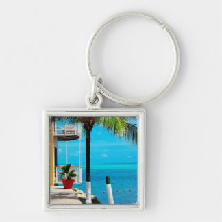 Palm Tree At The Front Yard Of A House By The Sea Silver-Colored Square Key Ring