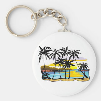Palm Tree Background Basic Round Button Key Ring