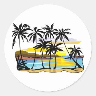Palm Tree Background Round Sticker