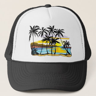 Palm Tree Background Trucker Hat