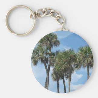 Palm Tree Basic Round Button Key Ring