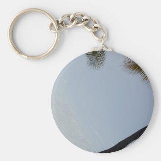 Palm tree beach basic round button key ring