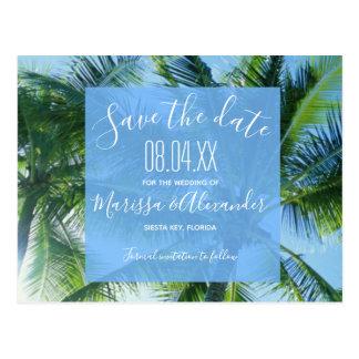 Palm Tree Beach Budget Wedding Save the Dates Postcard