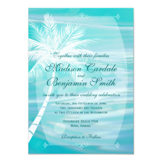 "Palm Tree Beach Destination Wedding Invitations 4.5"" X 6.25"" Invitation Card"