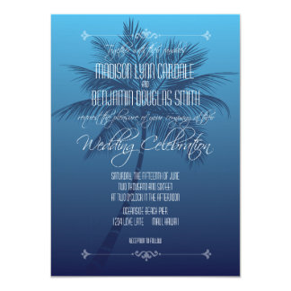 Palm Tree Beach Destination Wedding Invitations