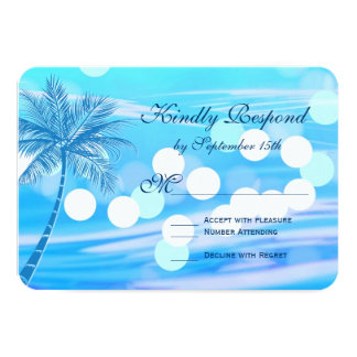 Palm Tree Beach Destination Wedding RSVP Cards