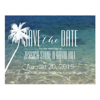 Palm Tree Beach Summer Wedding Save the Date Postcard