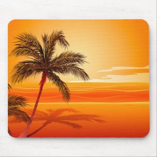 Palm Tree Beach Sunset Mouse Pad