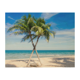 Palm tree beach tropical summer photo wood wall decor
