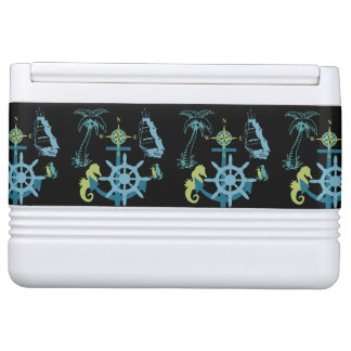 Palm Tree Boating Helm Compass Anchor Seahorse Cooler
