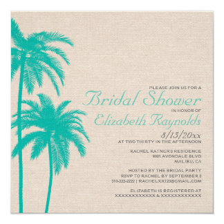Palm Tree Burlap Bridal Shower Invitations