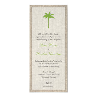 Palm Tree & Burlap Wedding Invitation - Green