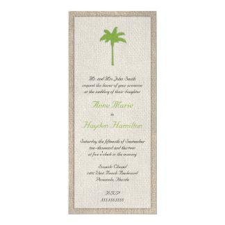Palm Tree & Burlap Wedding Invitation - Green