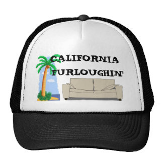 palm tree cartoon, couch, CALIFORNIA FURLOUGHIN' Cap