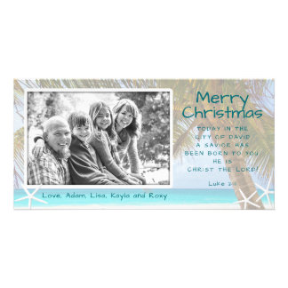 Palm Tree Christian Beach Christmas Photo Card