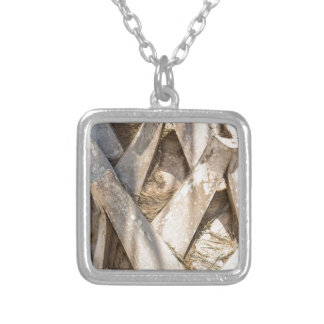 Palm Tree Close Up Detail Abstract Tight Crop Silver Plated Necklace