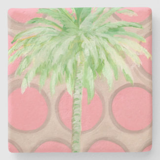 Palm Tree Coaster- Pretty Pink Polka Dots Stone Coaster