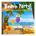 Palm Tree Cocktails Adult Beach Party Custom Invites