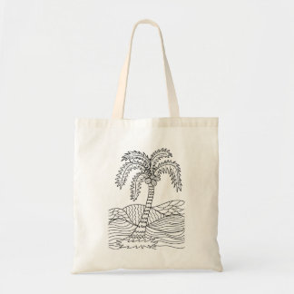 Palm Tree Coloring DIY Doodle Tote Bag