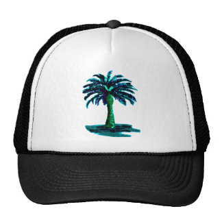 Palm Tree Cyan The MUSEUM Zazzle Gifts Mesh Hats