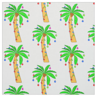 Palm Tree Decorated for Christmas Fabric