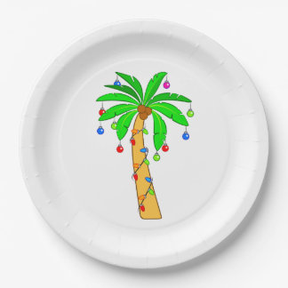 Palm Tree Decorated for Christmas Paper Plate