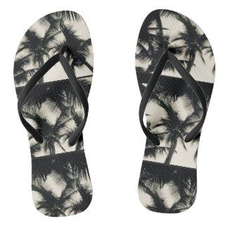 Palm Tree Design Slim Strap Flip Flops