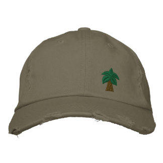Palm Tree Distressed Cap Embroidered Hats