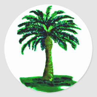 Palm Tree Green The MUSEUM Zazzle Gifts Round Stickers