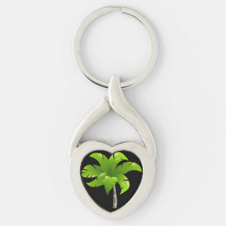 Palm Tree Heart Keychain Silver-Colored Twisted Heart Key Ring