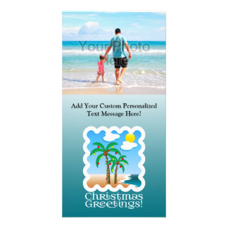 Palm Tree Holiday Lights Beach Christmas Photo Cards