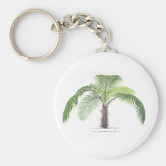 Palm tree illustration III Collection Basic Round Button Key Ring