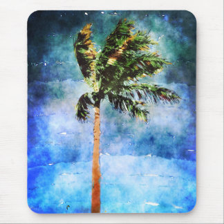 Palm Tree In A Tropical Storm Mousepads