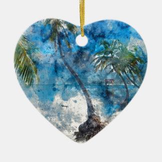 Palm Tree in Ambergris Caye Belize Ceramic Ornament