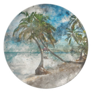 Palm Tree in Ambergris Caye Belize Dinner Plates