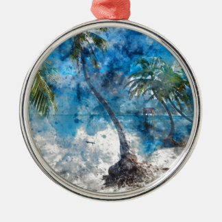 Palm Tree in Ambergris Caye Belize Metal Ornament