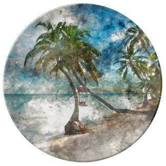 Palm Tree in Ambergris Caye Belize Porcelain Plate