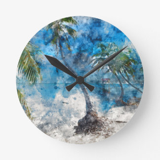Palm Tree in Ambergris Caye Belize Round Clock
